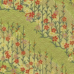 "Kirara Pale Green with Blue, Red, Purple, and White Flowers & Vines - 18.75""x25"" Sheet"