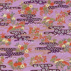 "Kirara Purple with Red, Blue, Green & Cream Floral Pattern - 18.75""x25"" Sheet"