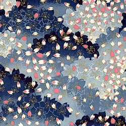"Blue with Pink & White Flower Petals - 26""x19"" Sheet"