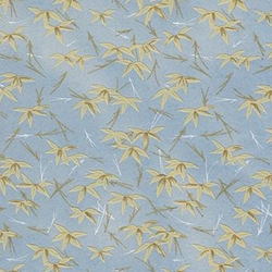 "Blue with Yellow Bamboo Leaves - 19""x26"" Sheet"