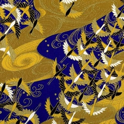"Cranes on Blue and Gold - 21.5""x31.5"" Sheet"