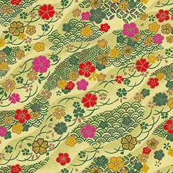 "Pink, Red, Green, Yellow Flowers on Green - 19""x25"" Sheet"