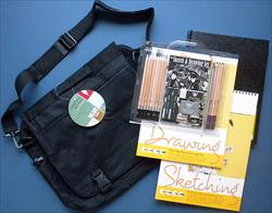 Art-On-The-Go! Travel Kit with Drawing Pads, Pencil Set, & Travel Bag