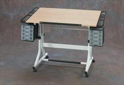 Craftmaster II Deluxe Hobby and Drawing Center with Wood Grain Top and White Base