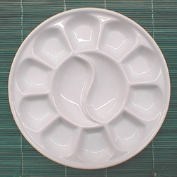 12 Well Round Porcelain Palette