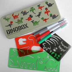 Dinosaur Stencil Drawing Kit - Dinobox