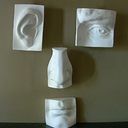 Plaster Castings - Eye, Ear, Nose, and Lips Set