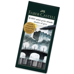 Faber Castell - Pitt Brush Pen Shades of Grey Set of 6