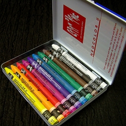 Caran D'Ache Neocolor II Watersoluble Crayon Set of 10 In a Metal Tin