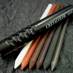 Cretacolor 6 Artist's Leads, Assorted 5.6mm With Black Holder
