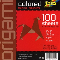 "Origami Colored Folding Squares - 100 6""x6"" Sheets"