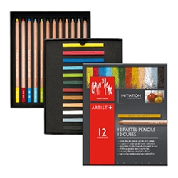 Caran d'Ache Pastel Initiation Assortment - 12 Pencils & 12 Cubes
