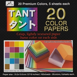 Japanese Tant Origami Paper - 20 Colors, 5 Sheets Each