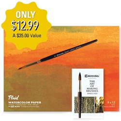 Fluid Watercolor Paper Value Pack with Escoda Brush