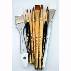 Everett Raymond Kinstler Watercolor Brush Set of 9 Silver Brushes