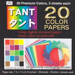 TANT 20 Colors 5 Sheets of Each Color 3 Inch