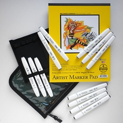 "TOUCH Brush Marker Set of 12 Cool Grey Brush Colors with Case and 8.5""x11"" Marker Pad"