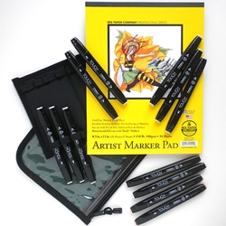 "TOUCH Brush Marker Set of 12 Skin Tone Twin Marker Colors with Case and 8.5""x11"" Marker Pad"