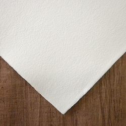 "Hemp Paper - 250 gsm 20 x 30"" White Natural Deckle (Single Sheets)"