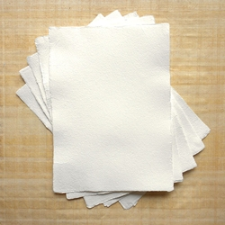 "Hemp Paper - 250 gsm 5.83x8.27"" White Natural Deckle (5 Sheet Pack)"