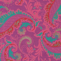 Printed Cotton Paper from India- Paisley Pink/Red/Turquoise on Magenta 22x30 Inch Sheet