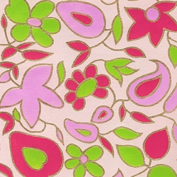 Flower and Vine Screenprinted Paper