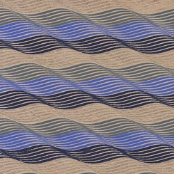 Printed Cotton Paper from India- Waves in Gold/Gray/Blue on Tan Paper 22x30 Inch Sheet