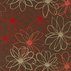 "Mod Daisy Print Paper - Gold, Red, and Orange Daisies on Brown 22""x30"" Sheet"
