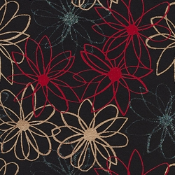 "Mod Daisy Print Paper - Gold, Blue Glitter, and Red Daisies on Black 22""x30"" Sheet"