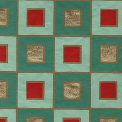 "Mod Square Screenprinted Paper - Turquoise and Red 20""x30"" Sheet"