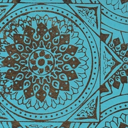 Printed Cotton Paper from India- Gold Foil Medallions on Turquoise  Paper 22x30 Inch Sheet
