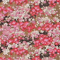 "Red, White, & Pink Blossoms on Gold Swirls - 19""x25"" Sheet"