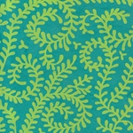 "Nepalese Printed Paper- Bright Swirling Vines Lime on Turquoise Paper 20x30"" Sheet"