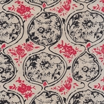 "Nepalese Printed Paper- Organic Flower Pods in Black & Red on Natural 20x30"" Sheet"