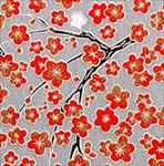 "Red Blossoms on Silver 21""x31.5"""