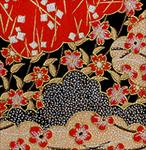 "Urushi Red, Gold, Black Clouds and Blossoms 1 Sheet 18.25""x24"""
