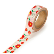 "Floral Yellow and Red -  5/8""x315"" Roll"