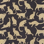 Cat Silhoette Paper- Gold Cats on Black 20x30 Inch Sheet
