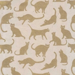 Cat Silhoette Paper- Gold Cats on Natural 20x30 Inch Sheet