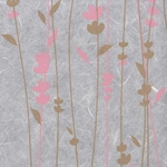 Thai Screenprinted Unryu- Meadow Flowers Coral/Gold on White