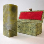 Chinese Chop (Chinese Ink Stamp)- Large Blank Green Stone Blank Bottom (ONLY 2 IN STOCK!)