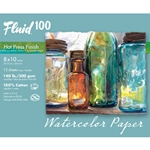 "Fluid 100 Watercolor Paper Pochette - 140lb Hot Press - 8""x10"" - 15 Sheet Pochette"
