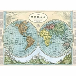 "Cavallini Decorative Paper-Hemispheres Map #2 20""x28"" Sheet"