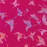 "Chinese Brocade Paper- Butterflies on Red/Magenta 26x16.75"" Sheet"