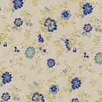"Chinese Brocade Paper- Blue Wildflowers 26x16.75"" Sheet"