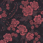 "Chinese Brocade Paper- Red Tea Roses on Black 26x16.75"" Sheet"