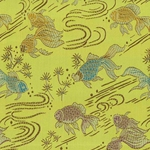 "Chinese Brocade Paper- Goldfish on Green 26x16.75"" Sheet"