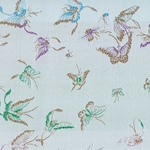 "Chinese Brocade Paper- Butterfly on Silver 26x16.75"" Sheet"