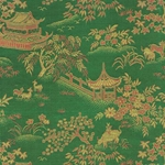 "Chinese Brocade Paper- Green Village Scene 26x16.75"" Sheet"