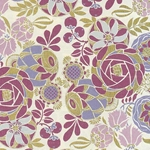 "Rossi Decorated Papers from Italy - Liberty Flowers Magenta 28""x40"" Sheet"